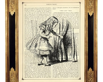 Alice in Wonderland and the Door b&w - Vintage Victorian Book Page Art Print Steampunk