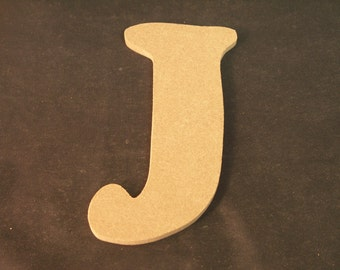 """Hand Cut Alphabets, Pack of 1 """"J"""", 4.5"""" Tall, Blank, Ready for your art work"""