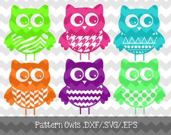 Patterned Owls Files .DXF/.SVG/.EPS File for use with your Silhouette Studio Software
