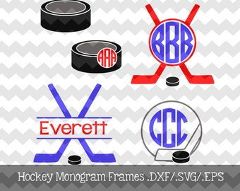 Hockey Monogram Frames .DXF/.SVG File for use with your Silhouette Studio Software