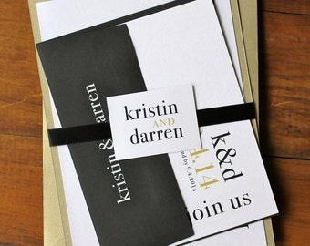 "Elegant Gold and Black Modern, City Chic Wedding Invitation - ""Urban Elegance Gold"" Deposit"