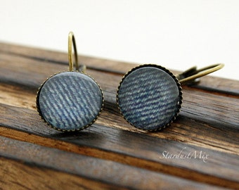 Denim Punk vintage style earrings