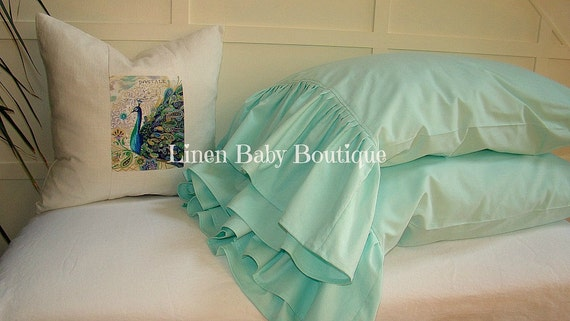 Pillow Case Mint Cotton.Ruffled Decorative Sham. Mint Green