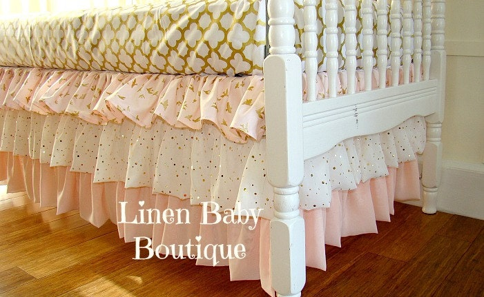pink and gold bumperless baby bedding crib set blush by linenbaby. Black Bedroom Furniture Sets. Home Design Ideas