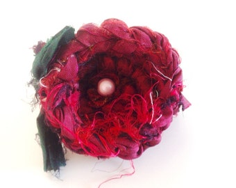Recycled sari silk crochet flower brooch / hair ornament.