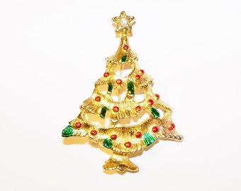 Vintage Brooch Pin Christmas Tree Gold Tone Winter Jewelry Jewellry Holiday Special Occasion Gift for Her