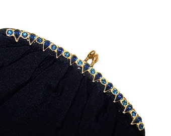 Vintage Paray Black Clutch Purse with Sapphire Blue Stone Accents and Satin Lining