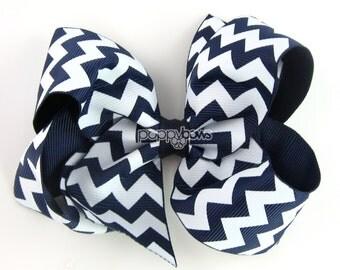 Girls Hair Bow - chevron hair bows - navy blue hair bow - little girls hair bow - large hair bows - 4 inch bows - big hair bows - toddler