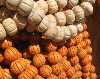 Handmade vintage wood beads orange or white pumpkins