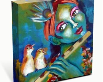 Birds Singing with Krishna CANVAS REPRODUCTION
