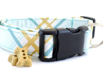 Blue Plaid Dog Collar and Leash, Blue Plaid Dog Collar, Blue Gold Dog COllar, Preppy Dog Collar,  Boy Dog Collar, Dog Collar, Collar