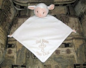 Baby Cubbies Lamb Security Blanket Baptism Gift Christening Gift New Baby Baby Shower Gift Fleece Security Blanket