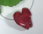Swirled red glass Heart