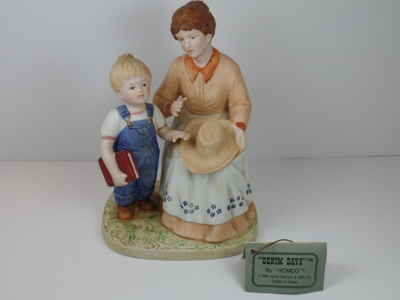 Vintage figurine homco denim days danny 39 s mom figurine Home interiors figurines homco