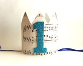 First Birthday Crown, Birthday Party Hat, Music Paper Crown, First Birthday Boy Crown, Musical Birthday, Sheet Music Crown, Music Party