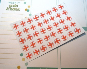 Red cross medical Stickers-Set of 40