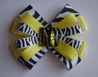 "Yellow Zebra Print loopy hair bow - 3"""