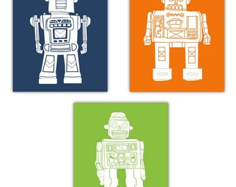 "Robot Art // Art for Kids // Robot Nursery Art // Art for Toddler Room // Robot Decor // Robots Wall Art // 3-8""x10"" PRINTS ONLY"