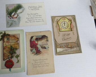 Four Antique Early 1900's Christmas Postcards lot2