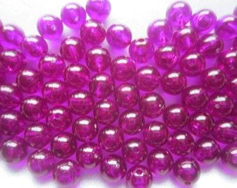 Purple/Fuschia Transparent Acrylic Plastic Pink Round Beads 8mm 16 Beads