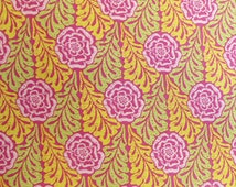 CLEARANCE Carla Miller Fabric, Lily Rose, Rose Stencil, Floral, Raspberry, Green, Yellow