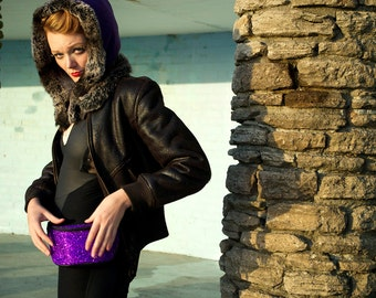 Royal Purple glitter fannypack, bumbag, hip bag, ykk zipper, black Eco leather