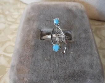 Vintage Silver Tone Turquoise/Teal Colored Rhinestones Filigree Adjustable Dainty Delicate
