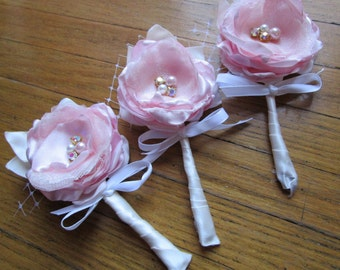 Mens boutonnieres in pink, fabric flower boutonnieres, Wedding accessories, groomsmen boutonnieres,