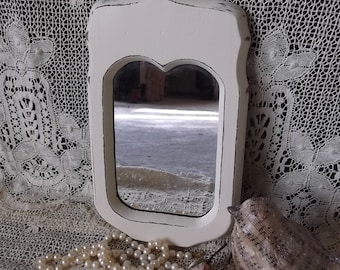 Shabby white wood mirror,  Rustic chic, vintage painted, small mirror