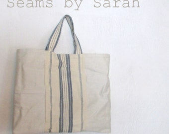 White and Blue Linen Cary-all // On the Go Bag //Stylish tote bag //Book Bag//Craft Bag