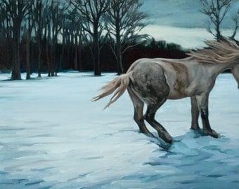 oil painting horse field farm winter snow percheron