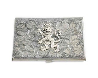 Rampant Lion Business Card Case Lannister Inspired Inlaid in Hand Painted Silver Scroll Design Custom Colors and Personalized Options