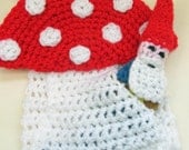 Crochet Woodland Gnome and Toadstool Scarf