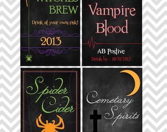 Halloween Wine Bottle Labels  Printable ~ Instant Download!