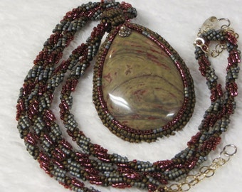 Necklace Beaded Spiral Rope with Jasper Teardrop Pendant and Earrings