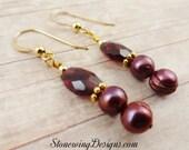 Garnet Earrings, Pearl Earrings, Birthstone Earrings, January Birthstone Jewelry, Red Garnet Earrings, Dark Red Earrings, Gemstone Earrings