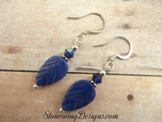 Sodalite Earrings, Leaf Earrings, Blue Stone Earrings, Gemstone Earrings, Blue Leaf Earrings, everyday earrings, blue jean earrings