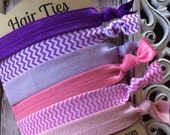FOE Elastic Hair Ties PINK PURPLE Collection Chevron Toddlers Girls Women -Set of 6-