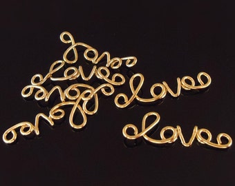 """F-574. 2pcs, Gold Plated Plated wire """"Love"""" Connector Pendant"""