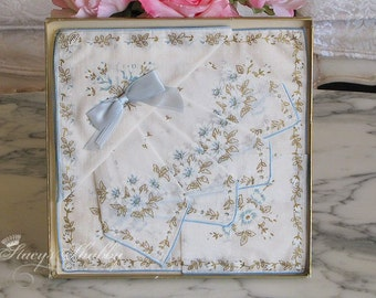 Box Beautiful BLUE And White Vintage FLORAL HANKIES, Cotton, Switzerland, Cottage