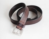 Vintage Size 40-44 Men's Brown Leather Belt