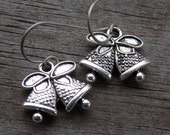 Titanium Bell Earrings, Antiqued Silver Christmas Bells Charms on Hypoallergenic Titanium Ear Wires