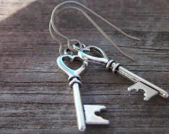 Titanium Earrings, Silver Skeleton Key with Hearts on Hypoallergenic Titanium