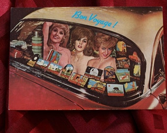 Postcard Bon Voyage Semi Nudity 1970s Auto Car Taxi Travel Stickers Narcotic Court Company Twilight Studios Collage