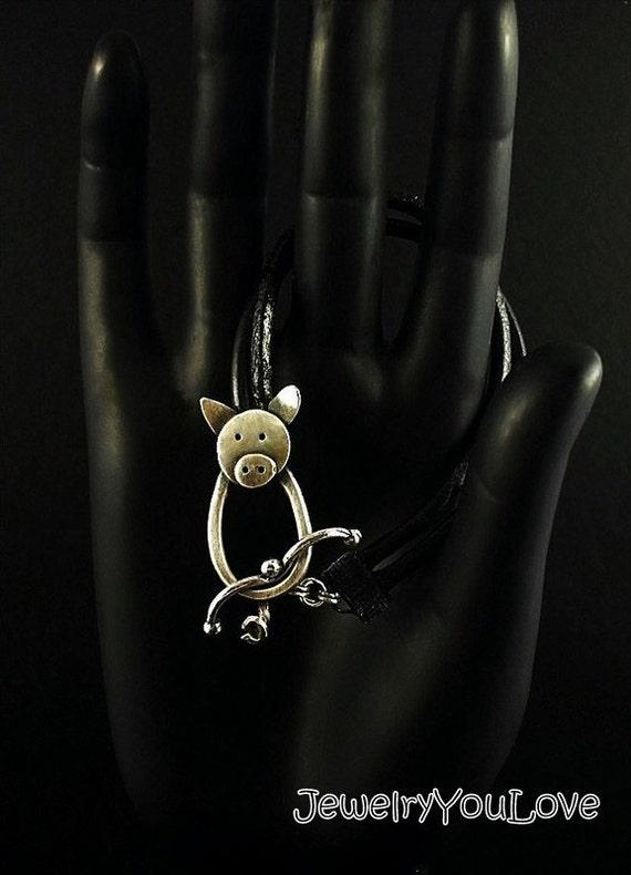 Sterling Silver/leather Pig Bracelet - Penny