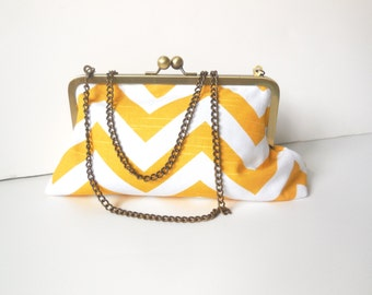 Yellow and White Chevron Print 8 Inch Classic Clutch