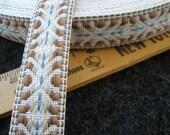 "Tribal Pattern Reversible Jacquard 1"" ribbon trim choose yards lots Taupe brown blue white embellish Boho light blue brown costume"