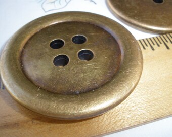 """51MM Antique Gold Coat Buttons Extra Large 2"""" plastic 4 hole sew on rustic sewing crafts knit crochet"""