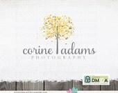 Premade Logo Design - Tree Leaves Photography Logo Hand Drawn