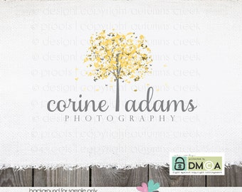 Premade Logo Design - Tree Leaves Photography Logo Hand Drawn